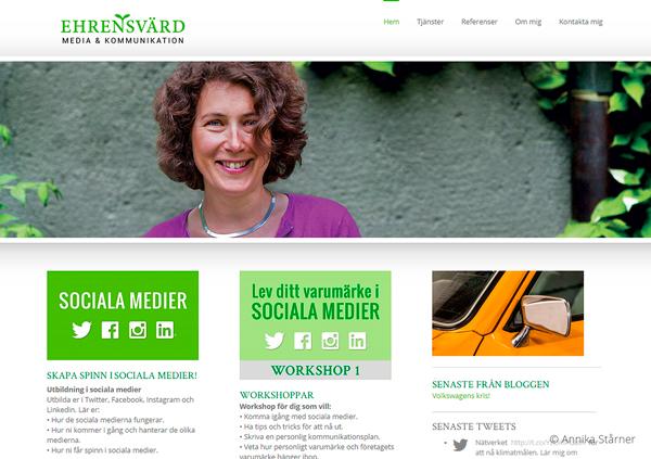 Ehrensvärd Media & Kommunikations hemsida